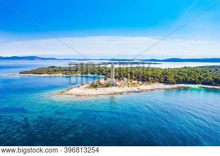 Old Lighthouse Of Veli Rat On The Island Of Dugi Otok, Adriatic Seascape In Croatia