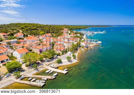 Aerial View Of The Town Of Veli Rat And Waterfront On Dugi Otok Island On Adriatic Sea In Croatia
