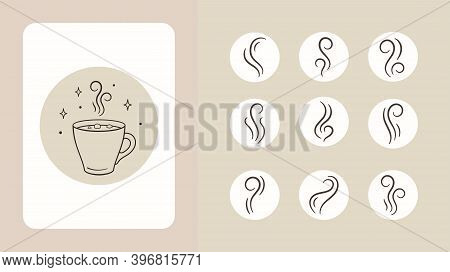 Cup Of Hot Coffee With Steam. Vector Set Of Smoke, Steam, Vapour Illustration