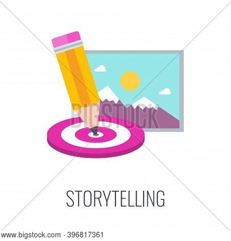 Brand Storytelling Icon. Pencil, Target And Image.
