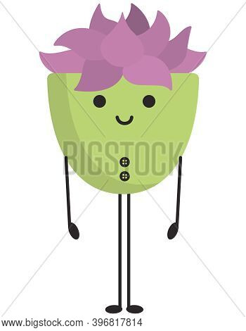 Standing Cute Succulent. Anthropomorphic Character In Cartoon Style.