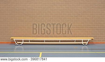 Empty Wooden Benche In School Gym, Wood And Metal