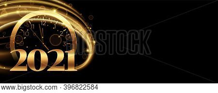 Countdown For New Year 2020 With Clock And Gold Streak