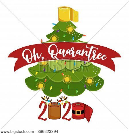 Oh, Qurantree (christmas Tree) Merry Quarantine Christmas 2020 - Cute Christmas Tree Doodle Drawing