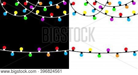 Colorful Fairy Light Set. Christmas Lights String. Holiday Festive Xmas Decoration. Lightbulb Glowin
