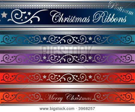 Vector Christmas Deco Ribbons Platinum