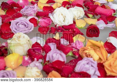 Thai Spathai Spa Bath Tub With Flowers Rose Head Leaves And Water. Beauty Treatment Concept In Spa S