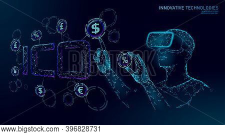 Initial Coin Offering Ico Letters Technology Concept. Business Finance Economy Low Poly Design Style