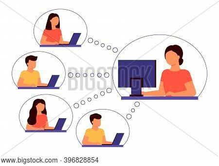 Group Of People Communicate Over Internet At Distance. Communication, Meeting, Negotiations, Trainin
