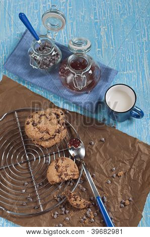 Top View Of Biscuits With Chocolate Drops And Jam