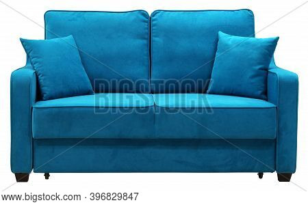 Sofa Isolated On White Background. Including Clipping Path. The Sofa Is Laid Out For Sleep
