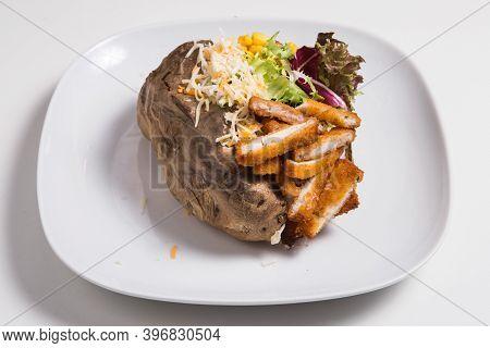 Delicious Spicy Chicken Stuffed Sweet Potato Skin Yam Dish