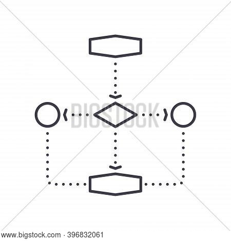 Flowchart Icon, Linear Isolated Illustration, Thin Line Vector, Web Design Sign, Outline Concept Sym