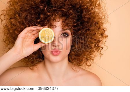 Close Up Photo Beautiful Funky She Her Wear No Clothes Lady Hold Hide Eye Behind Slice Lime Lemon Ca