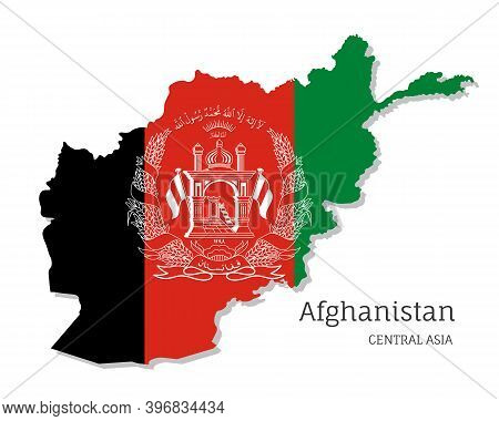 Map Of Afghanistan With National Flag. Highly Detailed Editable Map Of Afghanistan, Central Asia Cou