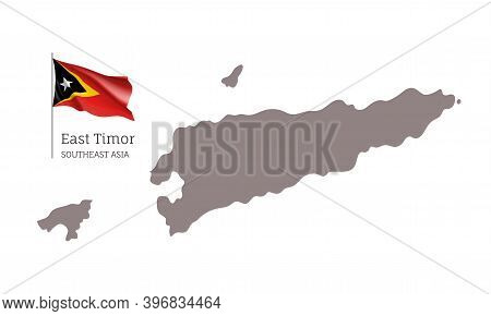 Silhouette Of East Timor Country Map. Highly Detailed Gray Map And National Flag, Southeast Asia Cou