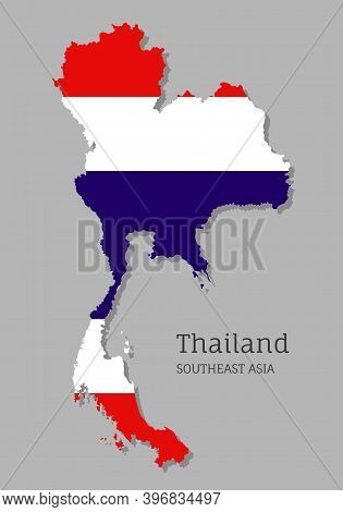 Map Of Thailand With National Flag. Highly Detailed Editable Map Of Thailand, Southeast Asia Country