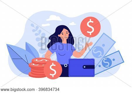 Happy Female Entrepreneur Surrounded Money And Showing Gold Coin Isolated Flat Vector Illustration.