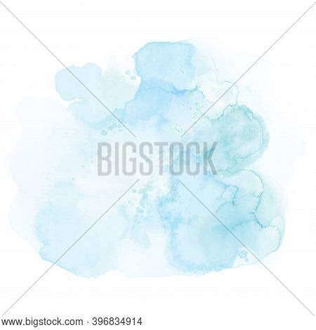 Abstract Soft Blue Of Stain Splashing Watercolor Hand-painted On White Background. Artistic Used As