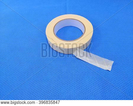 Steam Sterilization Chemical Indicator Tape Roll In Blue Background