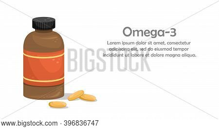 A Bottle Of Fish Oil Capsules. Biologically Active Additive. Omega-3