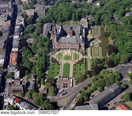 The Hague, Holland, May 23 - 1989: Historical aerial photo of the Peace Palace, the International Court of Justice, and garden