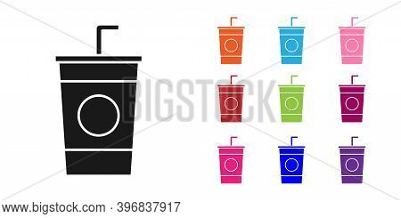 Black Paper Glass With Drinking Straw And Water Icon Isolated On White Background. Soda Drink Glass.