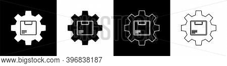 Set Gear Wheel With Package Box Icon Isolated On Black And White Background. Box, Package, Parcel Si