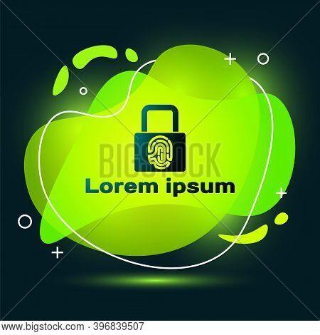 Black Fingerprint With Lock Icon Isolated On Black Background. Id App Icon. Identification Sign. Tou