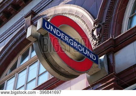 London, Uk - March 1, 2020: A Close Up Of A London Underground Sign Outside A Tube Station In London