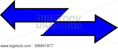 Double Blue Arrows Pointing In Both Directions With Black Lines And White Background.