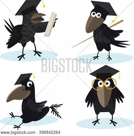 Cartoon Set Crow With Bachelor Cap Vector Image For Your Design