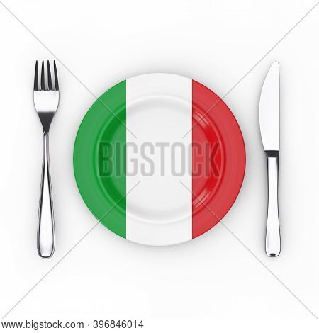 Italy Food Or Cuisine Concept. Fork, Knife And Plate With Italian Flag On A White Background. 3d Ren