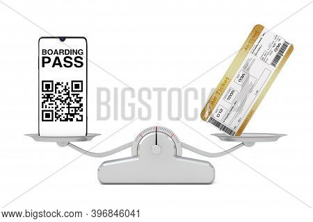 Mobile Hone With Boarding Pass Application With Two Golden Business Or First Class Airline Boarding