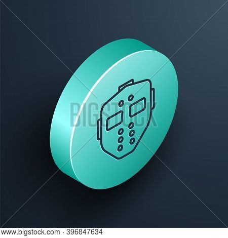 Isometric Line Hockey Mask Icon Isolated On Black Background. Happy Halloween Party. Turquoise Circl