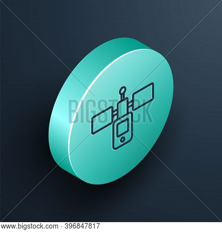Isometric Line Satellite Icon Isolated On Black Background. Turquoise Circle Button. Vector