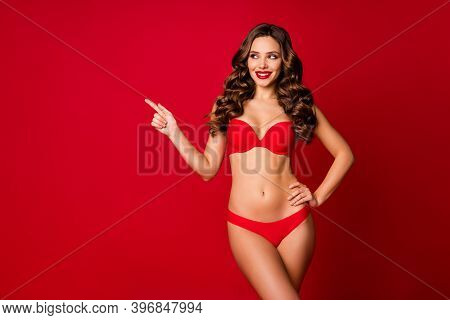 Photo Of Attractive Beautiful Curly Lady Model Advertising Underwear Direct Finger Empty Space Sensu