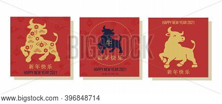 Set Of Chinese New Year 2021 Of Ox Vector Greeting Cards Template. Chinese Text Says Happy New Year.