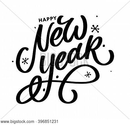 Happy New Year 2021 Beautiful Greeting Card Poster With Calligraphy Black Text Word Gold Fireworks.