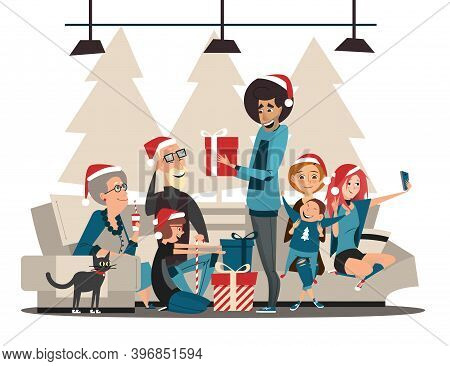 Christmas Family. Family Characters And Christmas Or New Year Gifts. Merry Christmas And Happy New Y