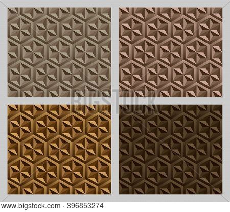 Geometric Hexagram Shapes Seamless Patterns. Earth Tone Brown Color Background Set. Vector Illustrat