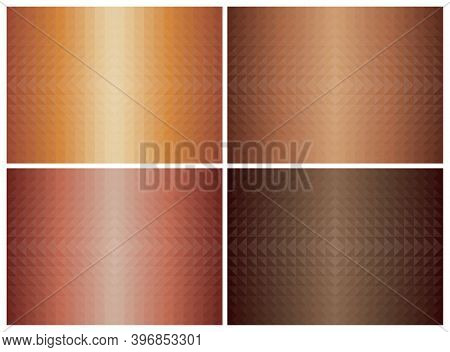 Abstract Geometric Triangle Shape Background Set, Orange Color Earth Tone. Cover Pattern Design. Vec
