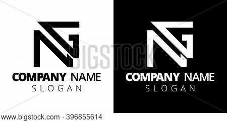 Creative Monogram Logo Template. Letter Ng Isolated On White And Black Background. Vector Concept Fo