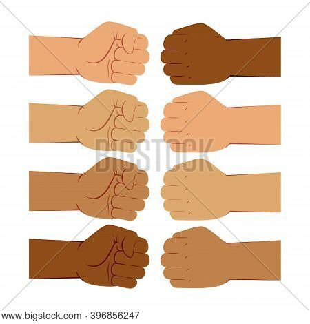 Hand Gesture Of Fist Bump, Different Skin Colors
