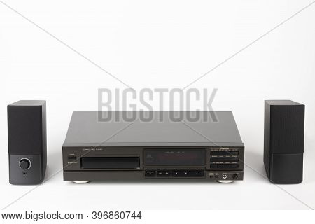 Cd Player Stereo Hi-fi And Two Stereo Speakers.  High-end Audio Equipment On White Background.