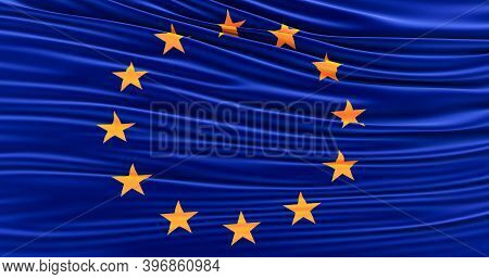 Europe Union Flag Of Silk, The European Union Waving Flag, 3d Render