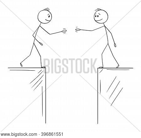 Cartoon Stick Figure Illustration Of Two Men Or Businessmen Or Politicians Going To Shake Hands When