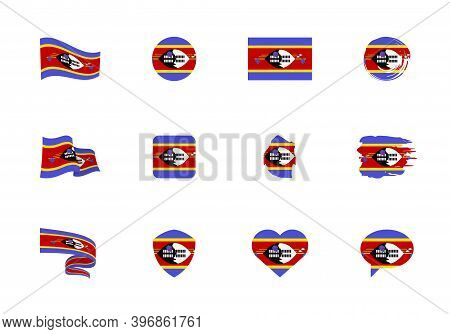 Eswatini Flag - Flat Collection. Flags Of Different Shaped Twelve Flat Icons.
