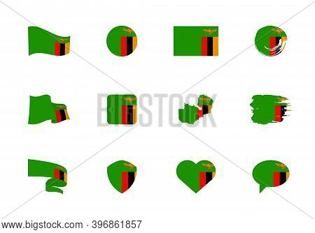 Zambia Flag - Flat Collection. Flags Of Different Shaped Twelve Flat Icons.