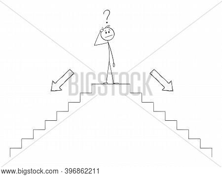 Cartoon Stick Figure Illustration Of Man Or Businessman Thinking On Top Of Stairs Or Staircase Or St